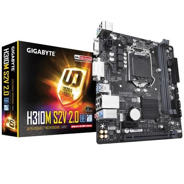 GIGABYTE 1151p v2 H310 DDR4 H310M-S2V 2.0 DVI Intel® HD Graphics 2x (PCIe) mATX